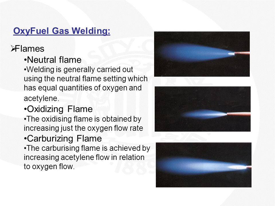 OxyFuel Gas Welding: Flames Neutral flame Oxidizing Flame