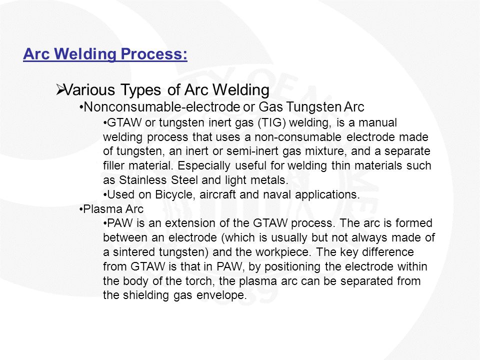 Various Types of Arc Welding