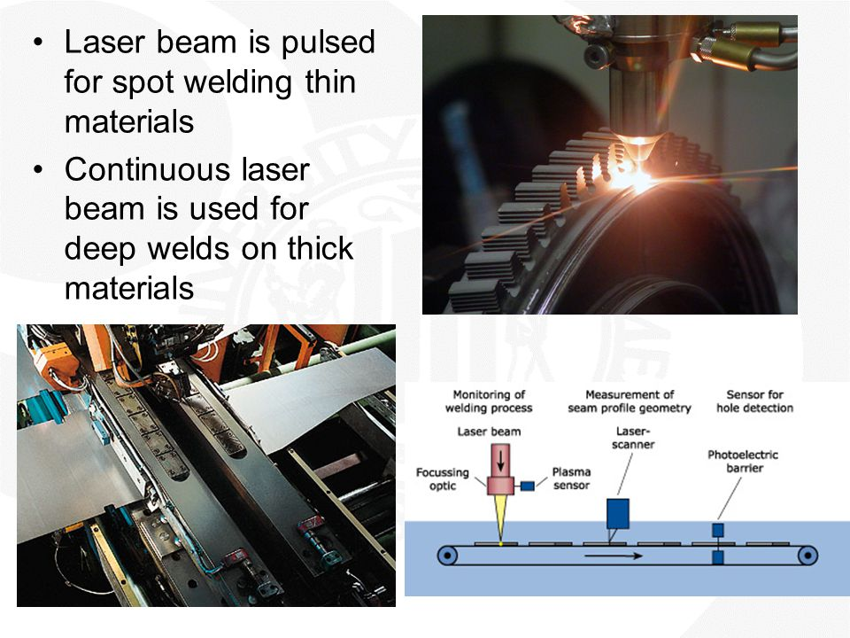 Laser beam is pulsed for spot welding thin materials