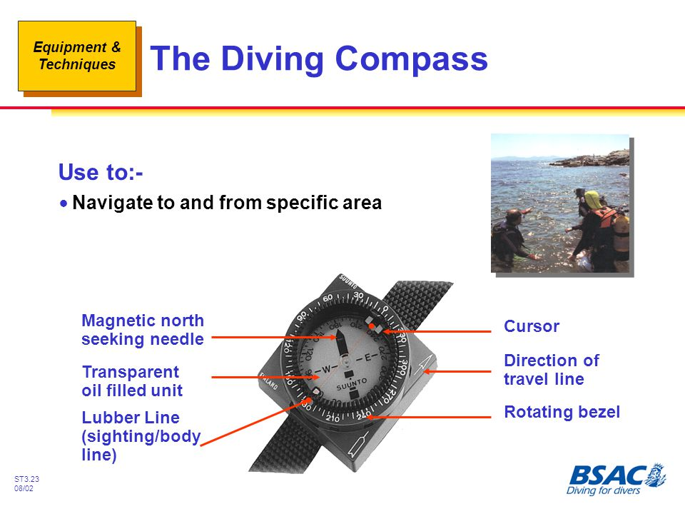 The Diving Compass Use to:- Navigate to and from specific area