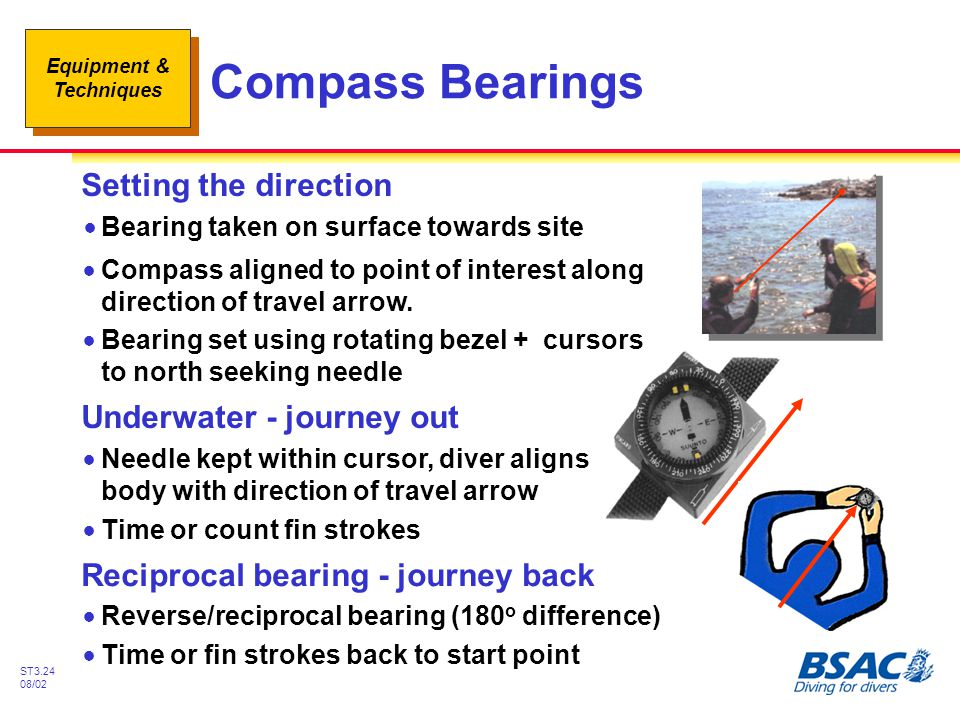Compass Bearings Setting the direction Underwater - journey out