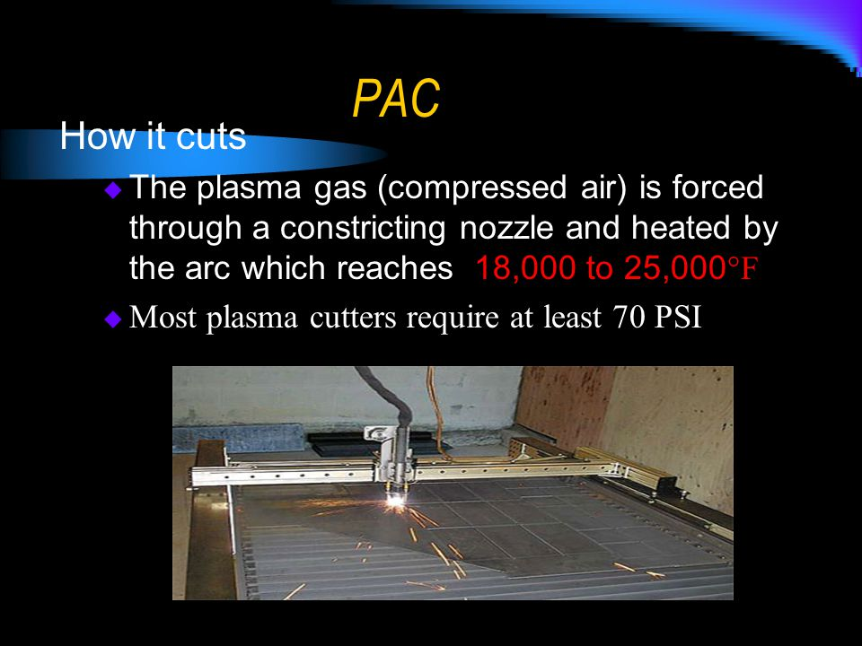 PAC How it cuts. The plasma gas (compressed air) is forced through a constricting nozzle and heated by the arc which reaches 18,000 to 25,000°F.