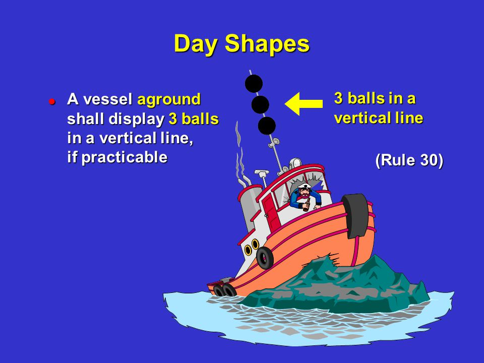 Day Shapes Day Shapes. A vessel aground shall display 3 balls in a vertical line, if practicable.