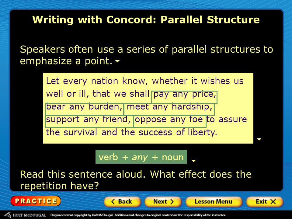 Writing with Concord: Parallel Structure