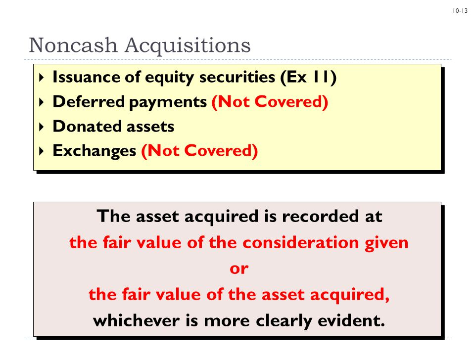 Noncash Acquisitions The asset acquired is recorded at