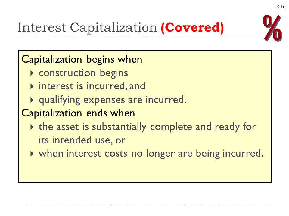 Interest Capitalization (Covered)