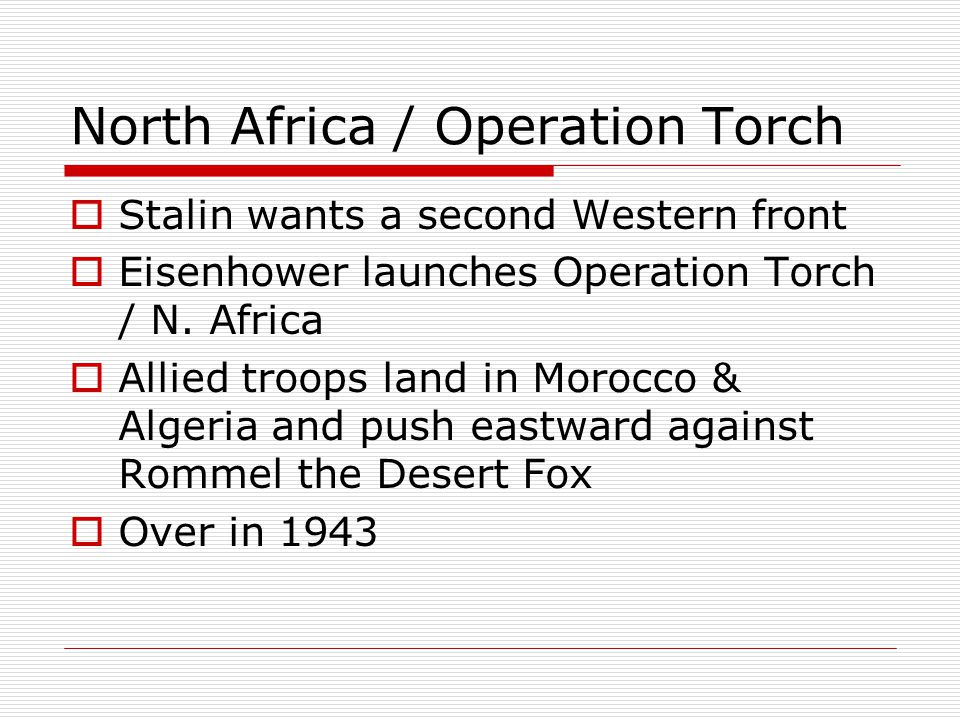 North Africa / Operation Torch