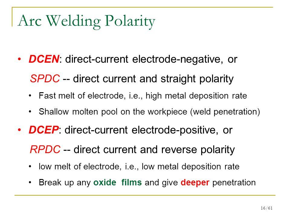 Arc Welding Polarity DCEN: direct-current electrode-negative, or