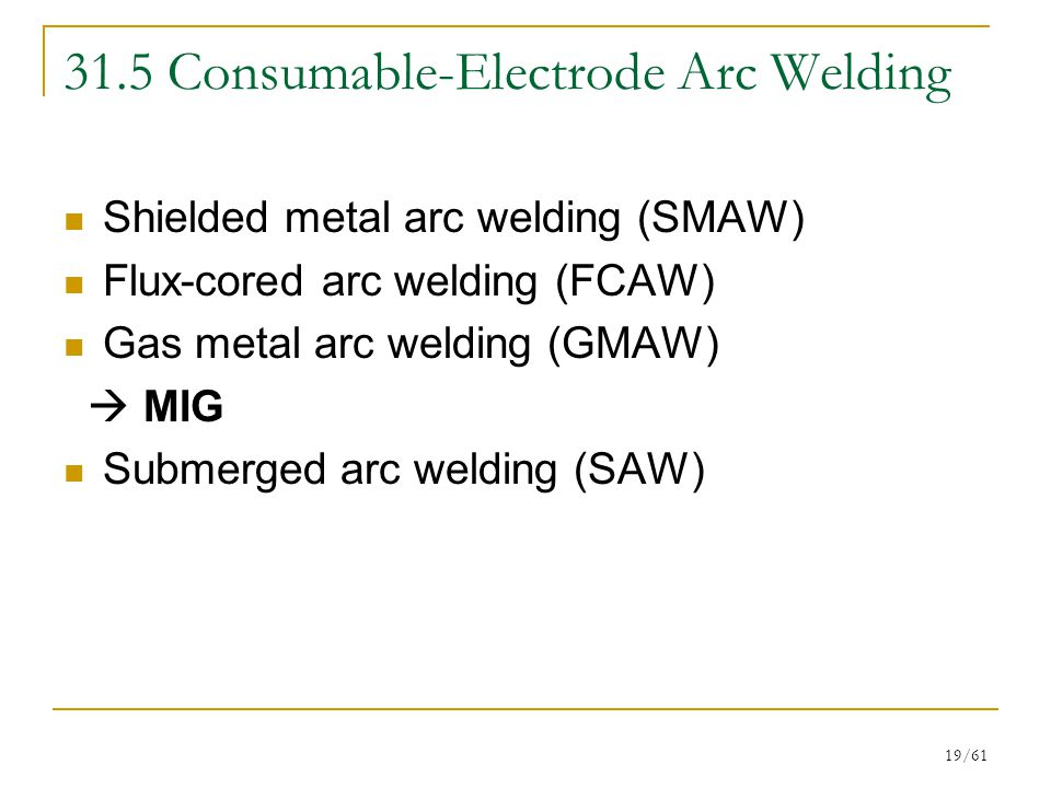 31.5 Consumable-Electrode Arc Welding