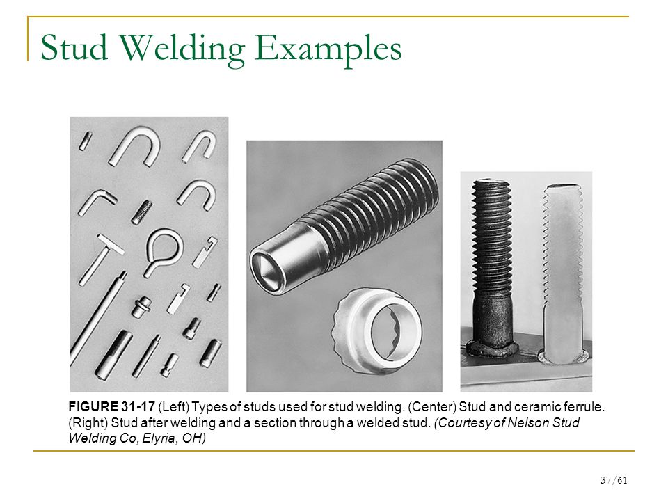 Stud Welding Examples FIGURE 31-17 (Left) Types of studs used for stud welding. (Center) Stud and ceramic ferrule.