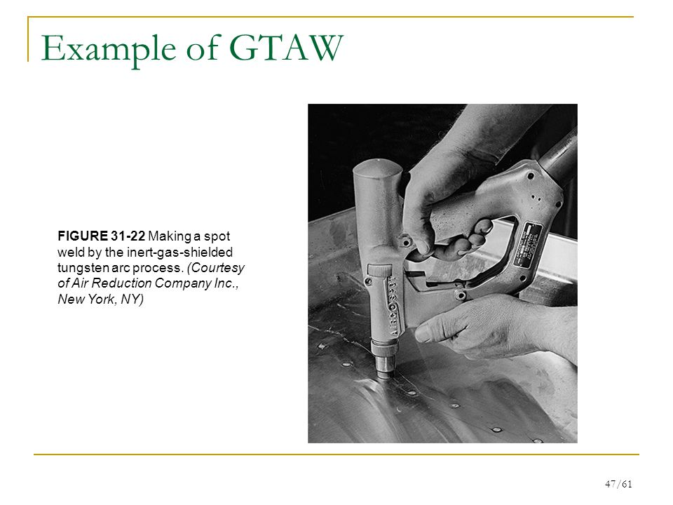 Example of GTAW FIGURE 31-22 Making a spot