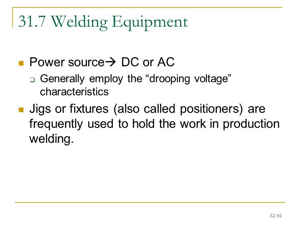 31.7 Welding Equipment Power source DC or AC