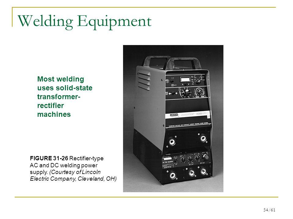 Welding Equipment Most welding uses solid-state transformer-rectifier machines. FIGURE 31-26 Rectifier-type.