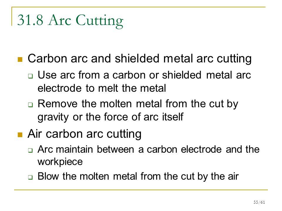 31.8 Arc Cutting Carbon arc and shielded metal arc cutting
