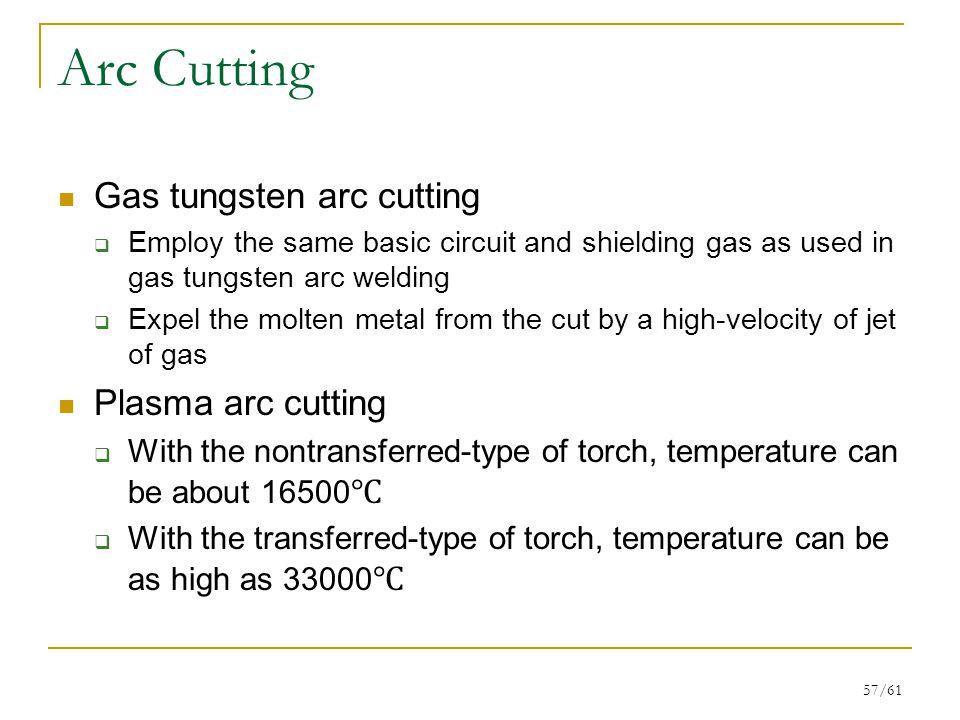 Arc Cutting Gas tungsten arc cutting Plasma arc cutting
