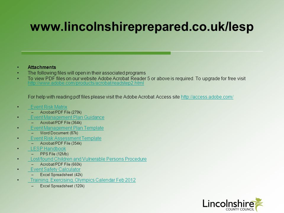 www.lincolnshireprepared.co.uk/lesp Attachments