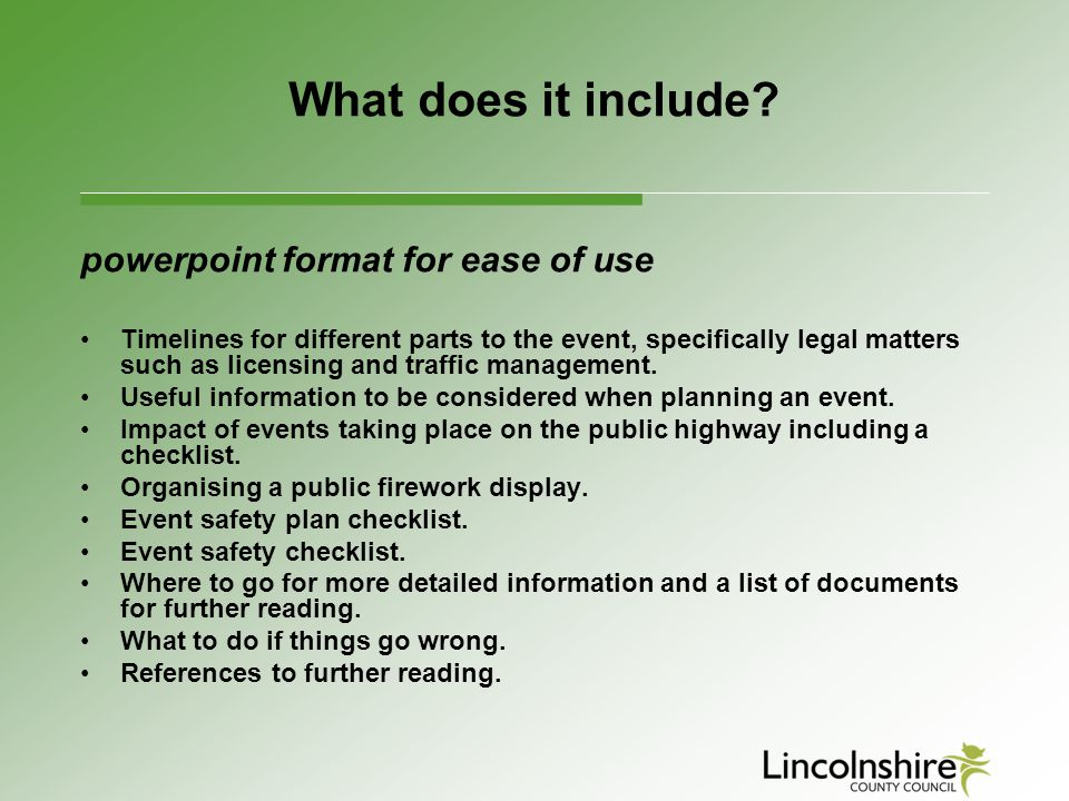 What does it include powerpoint format for ease of use