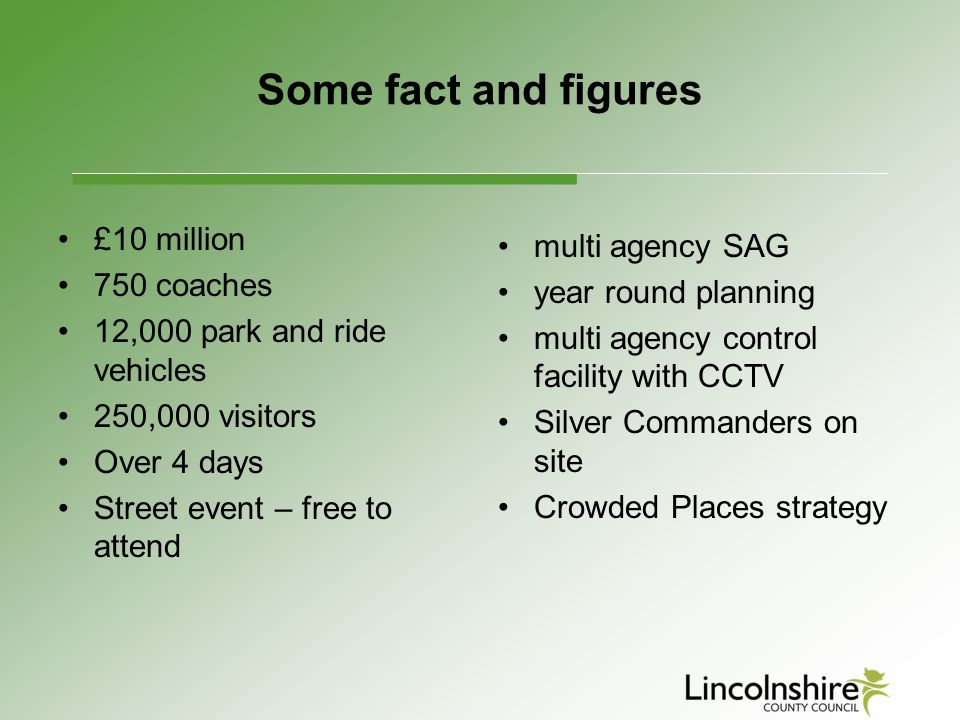 Some fact and figures £10 million multi agency SAG 750 coaches