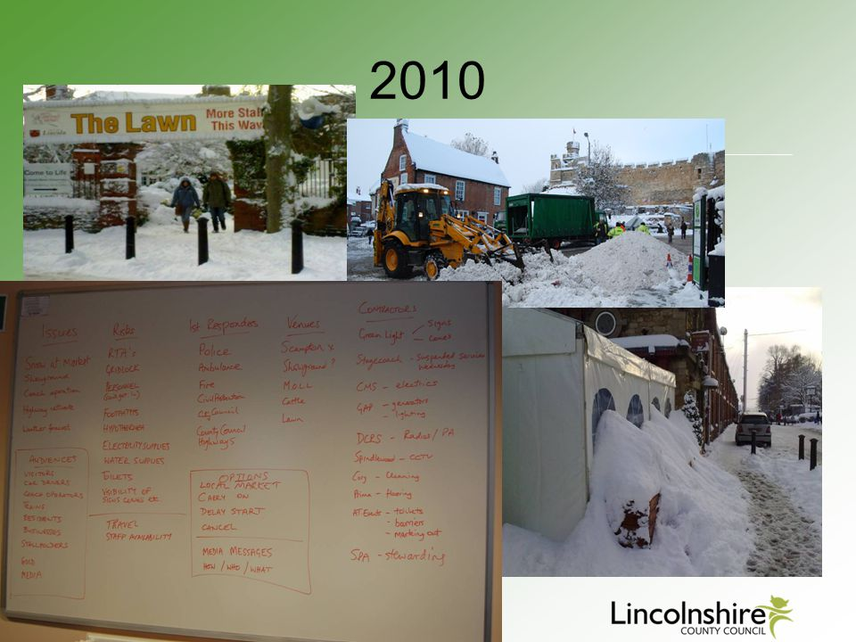 2010 Pictures of the snow and the amount of effort put in to keep the event AND THEN…