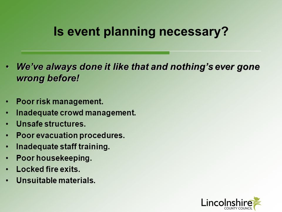 Is event planning necessary