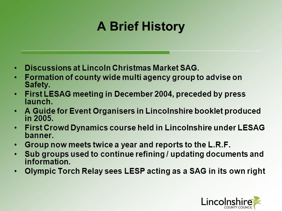 A Brief History Discussions at Lincoln Christmas Market SAG.