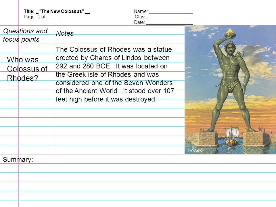Who was Colossus of Rhodes Questions and focus points Notes