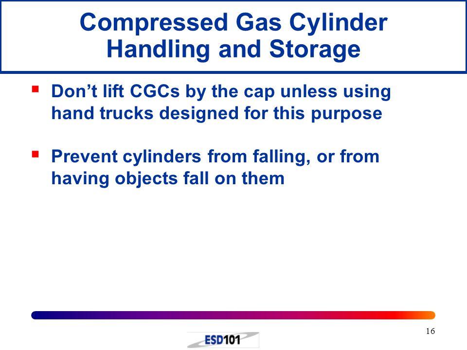 Compressed Gas Cylinder Handling and Storage