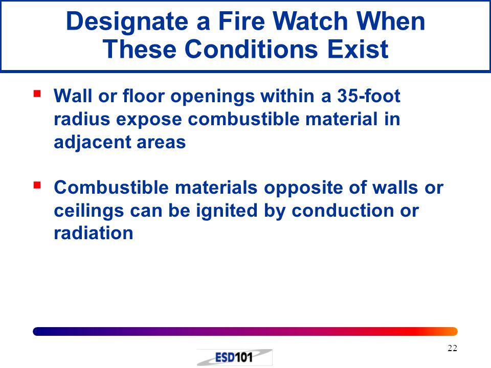 Designate a Fire Watch When These Conditions Exist