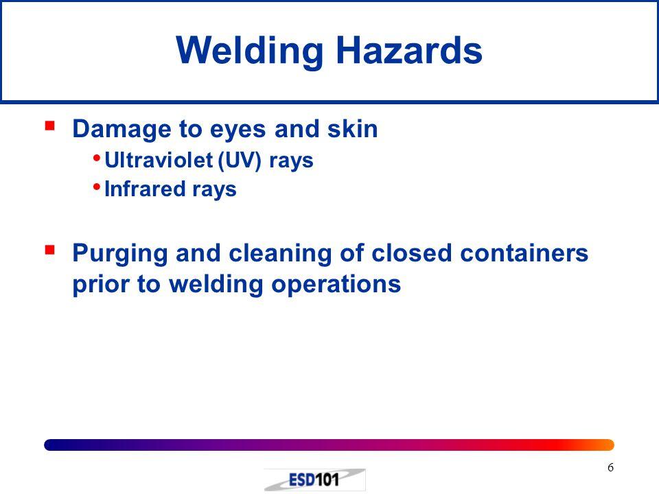 Welding Hazards Damage to eyes and skin
