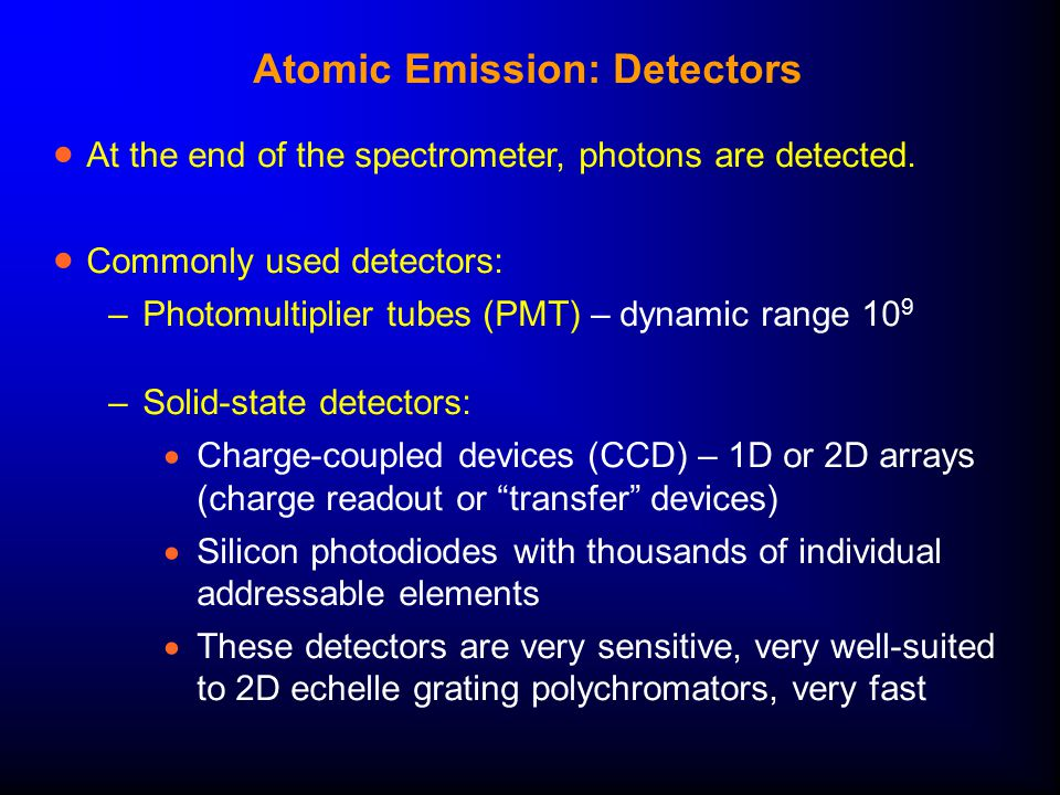 Atomic Emission: Detectors