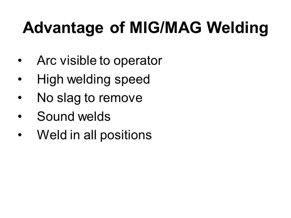 Advantage of MIG/MAG Welding