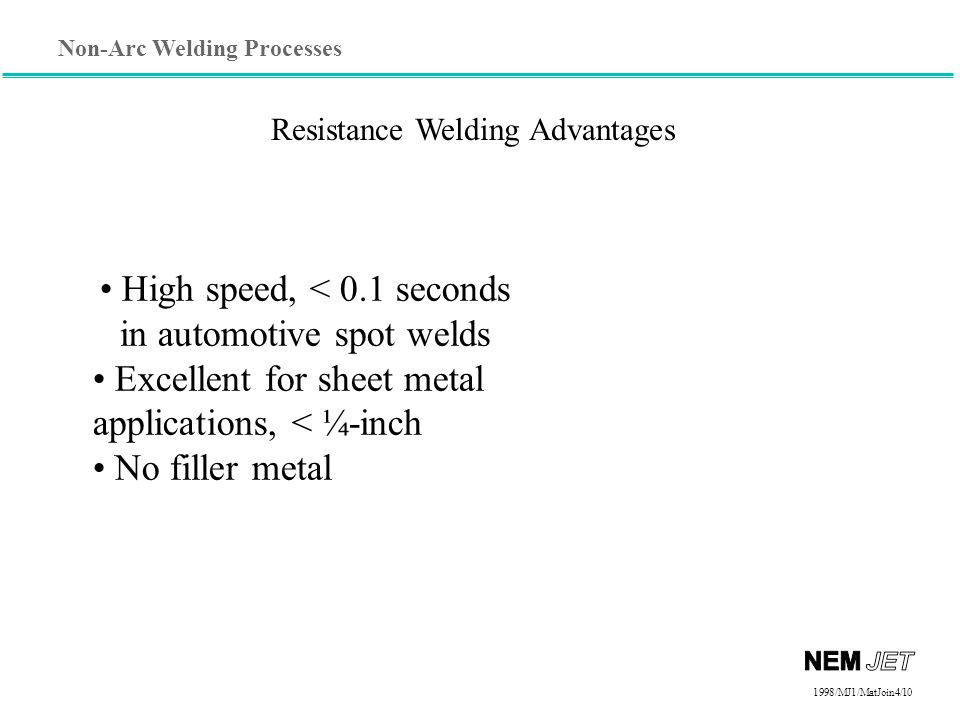 High speed, < 0.1 seconds in automotive spot welds