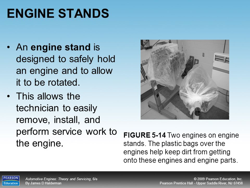 ENGINE STANDS An engine stand is designed to safely hold an engine and to allow it to be rotated.