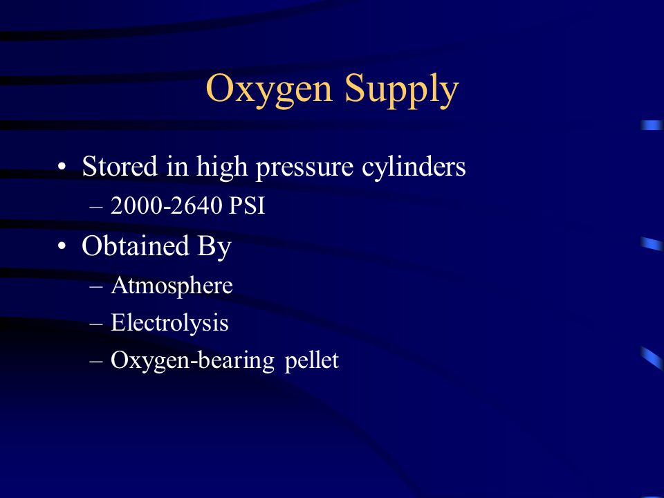 Oxygen Supply Stored in high pressure cylinders Obtained By
