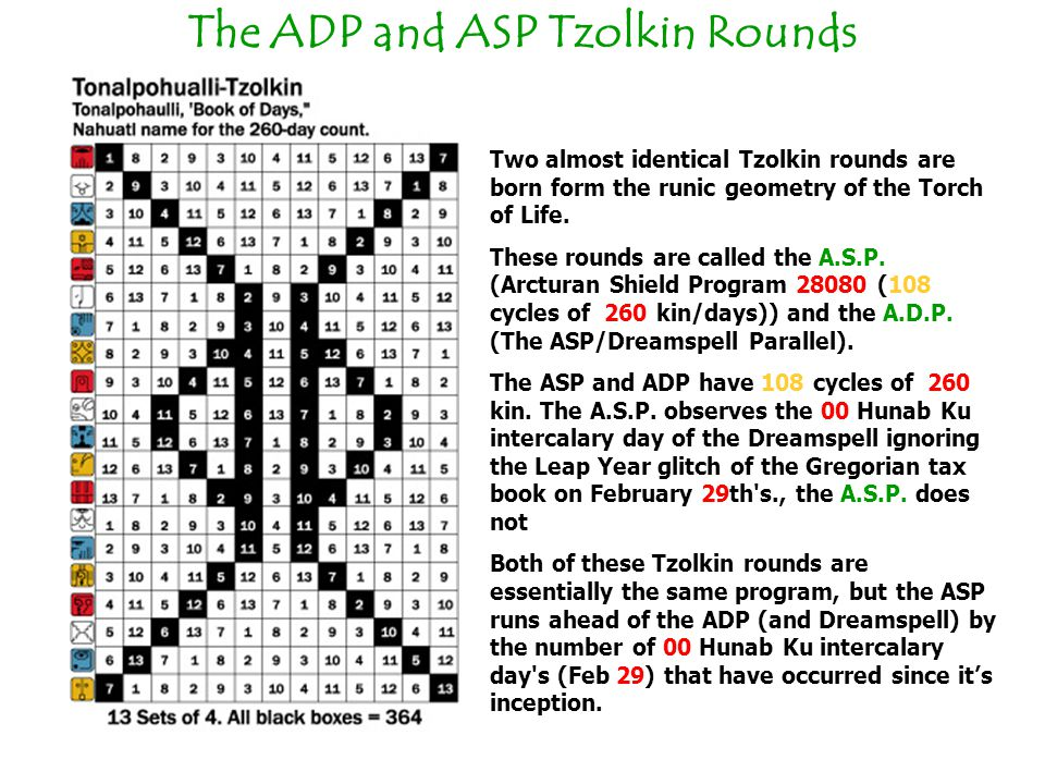 The ADP and ASP Tzolkin Rounds