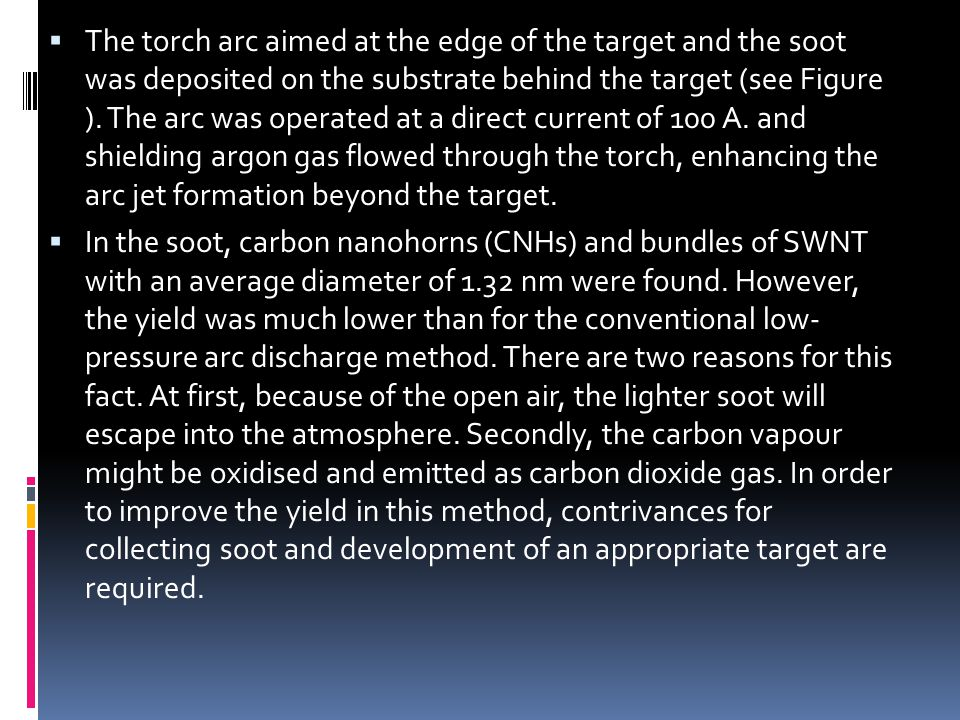 The torch arc aimed at the edge of the target and the soot was deposited on the substrate behind the target (see Figure ). The arc was operated at a direct current of 100 A. and shielding argon gas flowed through the torch, enhancing the arc jet formation beyond the target.
