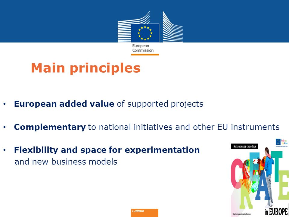 Main principles European added value of supported projects