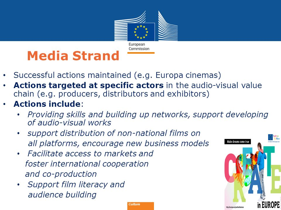 Media Strand Successful actions maintained (e.g. Europa cinemas)