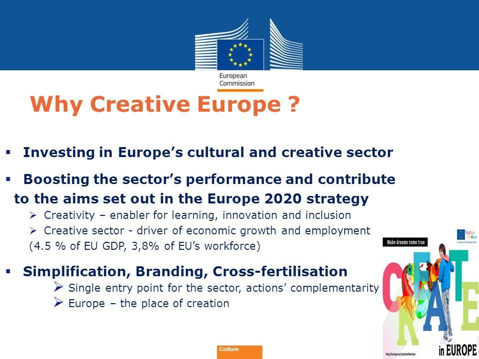 Why Creative Europe Investing in Europe's cultural and creative sector. Boosting the sector's performance and contribute.