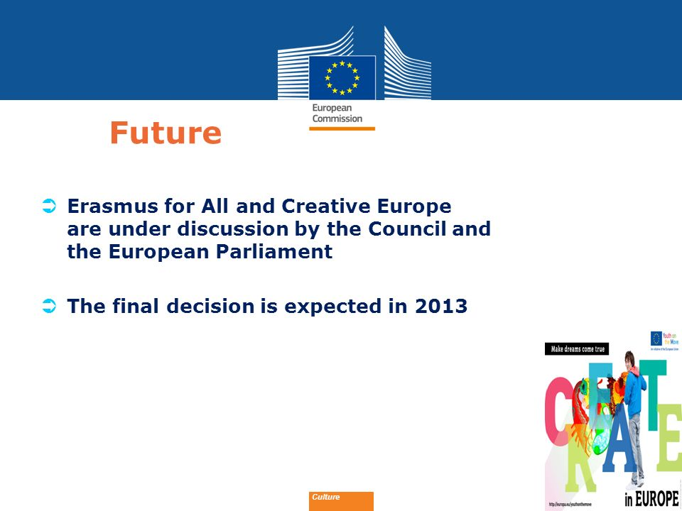 Future Erasmus for All and Creative Europe are under discussion by the Council and the European Parliament.