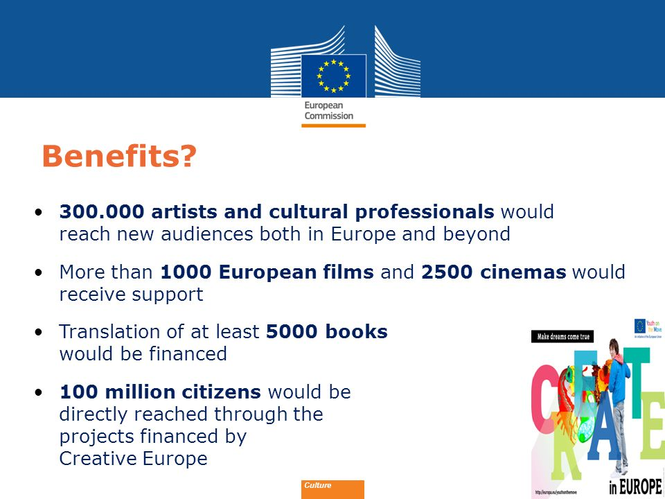 Benefits 300.000 artists and cultural professionals would reach new audiences both in Europe and beyond.