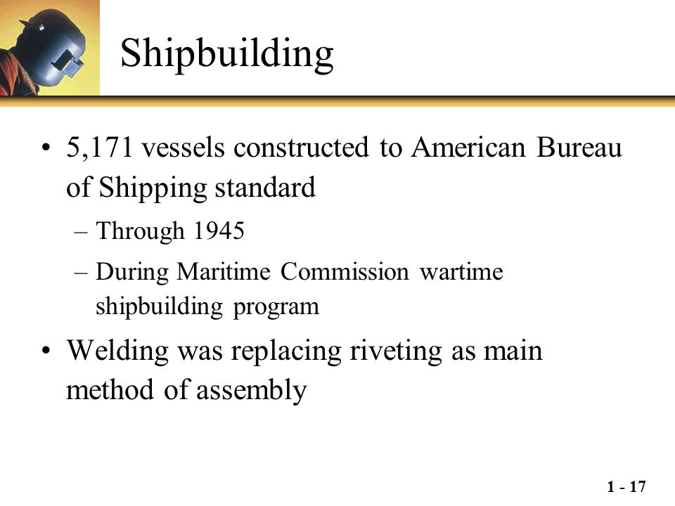 Shipbuilding 5,171 vessels constructed to American Bureau of Shipping standard. Through 1945.