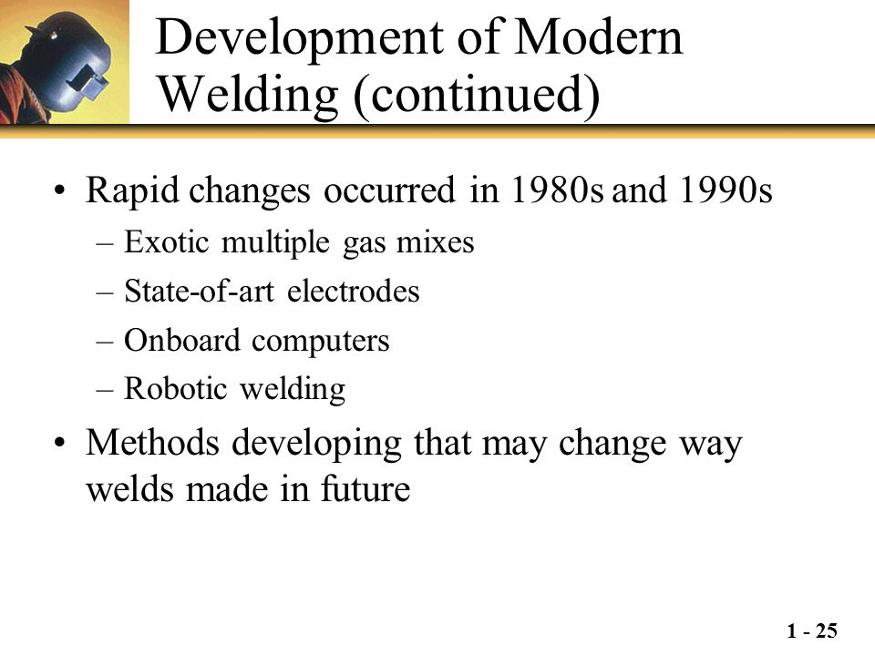 Development of Modern Welding (continued)