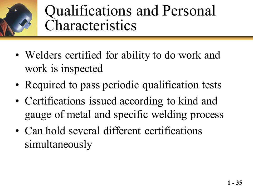 Qualifications and Personal Characteristics