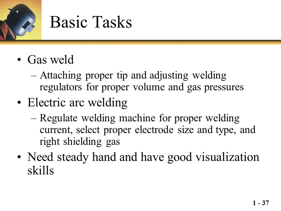 Basic Tasks Gas weld Electric arc welding