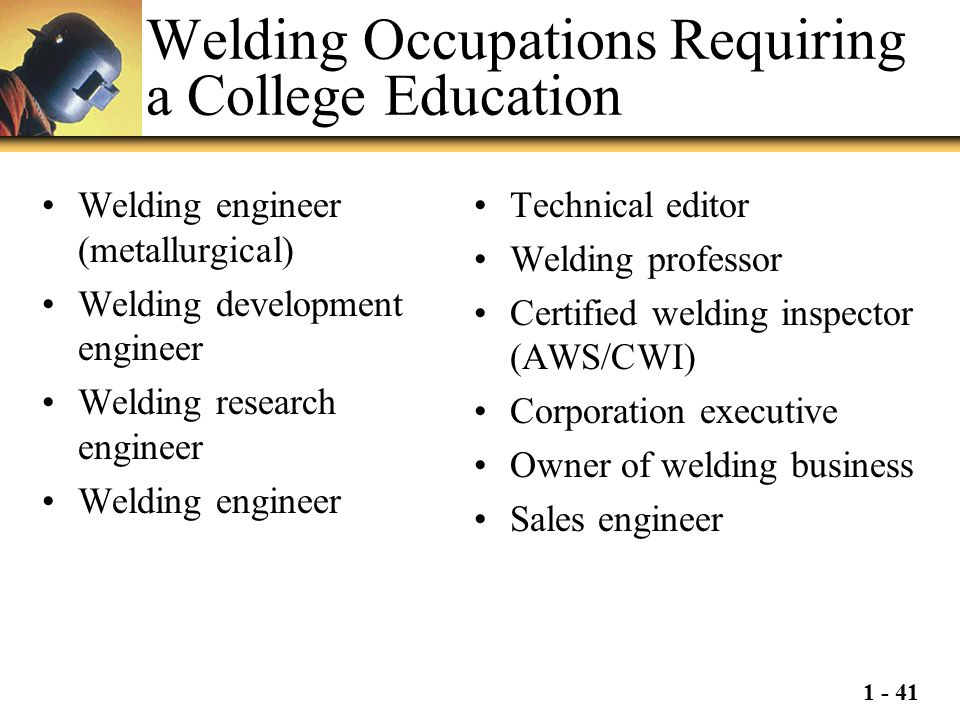 Welding Occupations Requiring a College Education