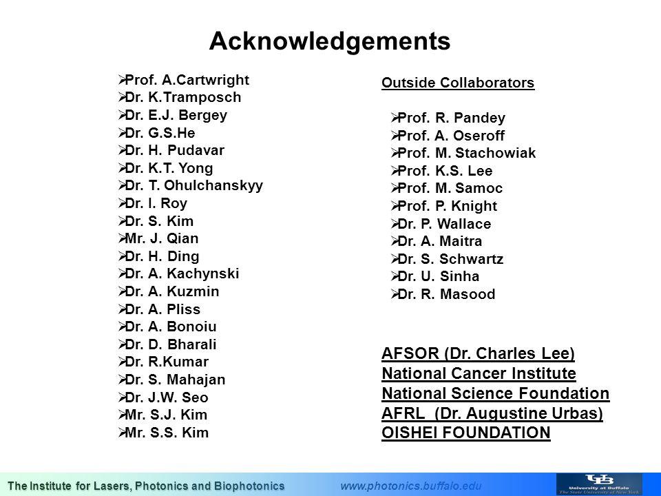 Acknowledgements AFSOR (Dr. Charles Lee) National Cancer Institute
