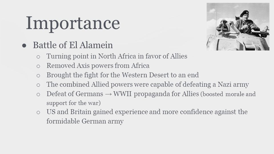 Importance Battle of El Alamein