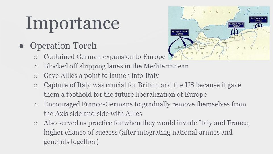 Importance Operation Torch Contained German expansion to Europe