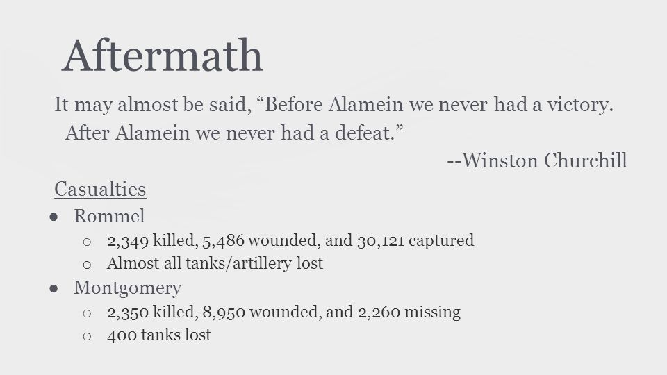 Aftermath It may almost be said, Before Alamein we never had a victory. After Alamein we never had a defeat.